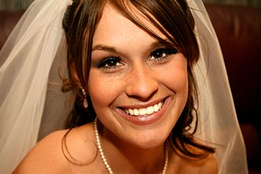 Bride in veil with gorgeous smile