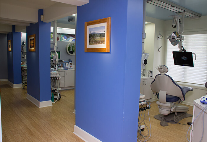 Hallway leading to dental treatment rooms