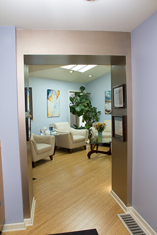 Warm welcoming patient waiting area